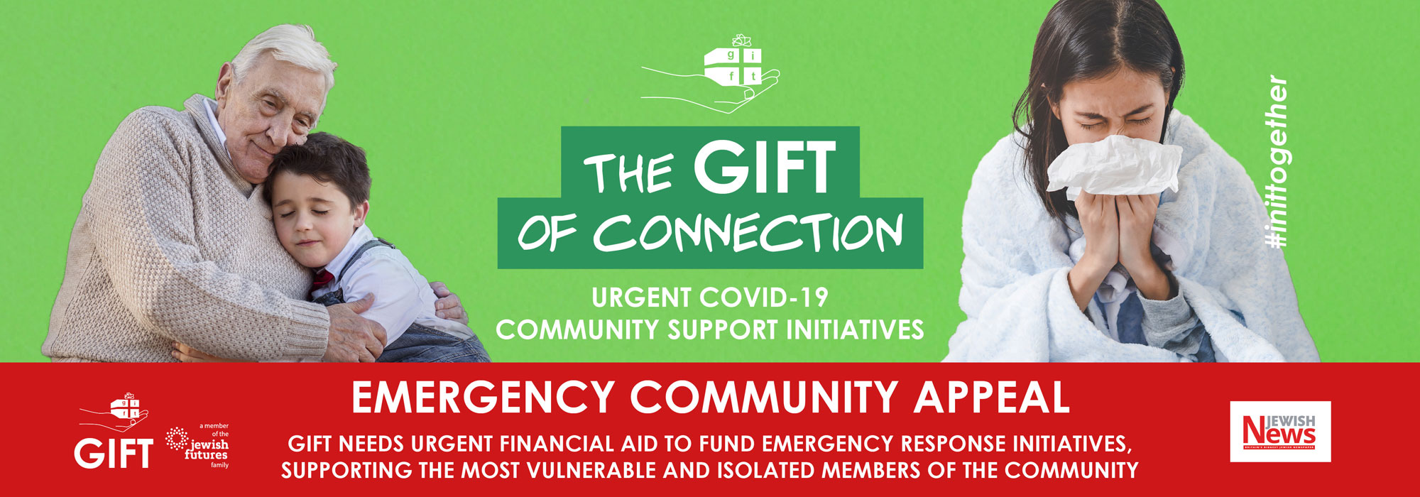 The GIFT of Connection - Urgent Covid-19 Community Support Initiatives - Emergency Community Appeal - GIFT needs urgent financial aid to fund emergency response initiatives, supporting the most vulnerable and isolated members of the community #inittogether