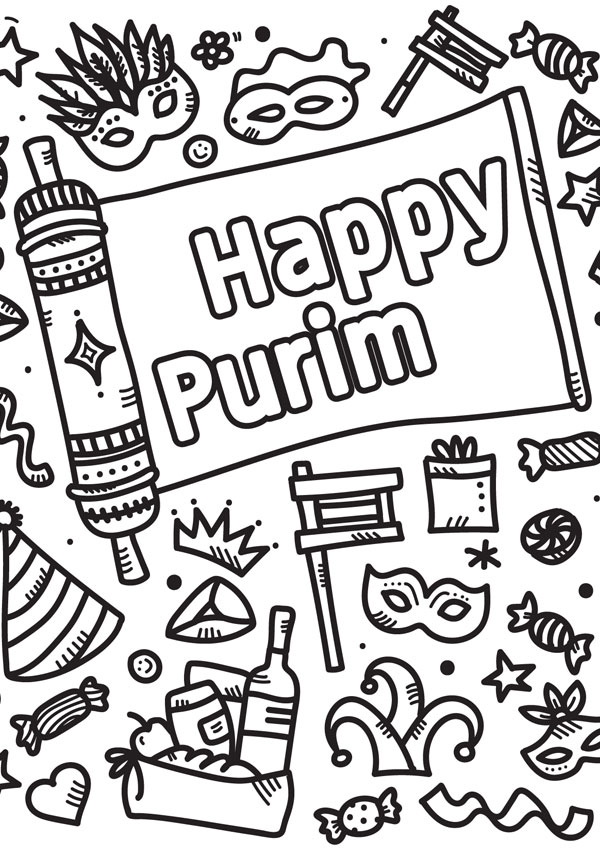 Purim Colouring Card